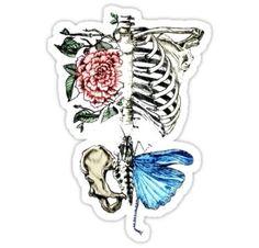 'Illustration - Skeleton nature' Sticker by Sara X. Lor - 'Illustration – Skeleton nature' Sticker by Sara X. Tumblr Stickers, Anime Stickers, Cool Stickers, Laptop Stickers, Tattoo Fairy, Zealand Tattoo, Large Tattoos, Pretty Tattoos, Skull Tattoos