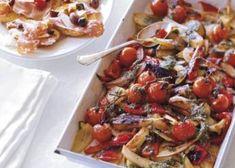 Geroosterde groenten met basilicumsaus