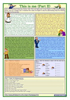 This is me Part 2 *** Reading comprehension for adults *** lower intermediate level *** with key *** fully editable worksheet - Free ESL printable worksheets made by teachers