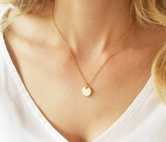 Disc necklace Gold bead necklace Circle necklace by HLcollection