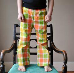 70s Sherbert plaid Trousers, size 5. $12.00, via Etsy.