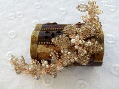 Bridal Hair Comb Antique Pearl Hair Comb Wedding by DesignByIrenne