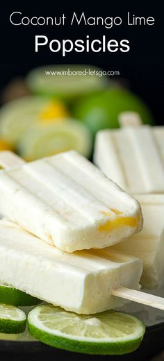Sweet, creamy Coconut Mango Lime popsicles - 4 ingredients, so easy and delicious!