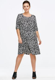Printed Long Sleeve A-line Dress