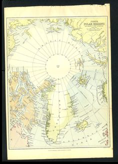 Antique Print of Map of North Pole 1800s by APrints on Etsy