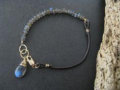 Labradorite Bracelet Labradorite Leather by DesignByPeiPei on Etsy