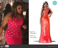 Mindy's red embellished dress on The Mindy Project.  Outfit Details: https://wornontv.net/57506/ #TheMindyProject (custom made)