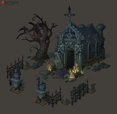 Cemetery Crypt Concept By Arthur. It's time to extend the cemetery set some more. Model is already in the works.