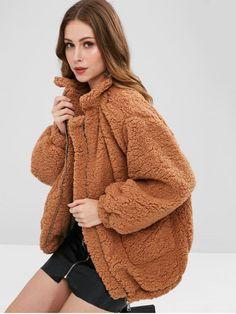 24841d6d67fa  55% OFF  2018 Slip Pockets Faux Fur Teddy Coat In LIGHT BROWN L