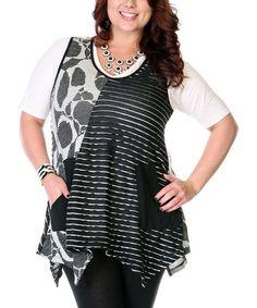 Loving this Black & White Patchwork Sleeveless Top - Plus on #zulily! #zulilyfinds