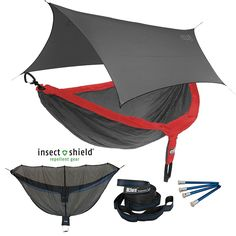 ENO DoubleNest OneLink Sleep System -Red/Charcoal Hammock w/ Insect Shield Grey Profly -- Check this awesome image  : Hammock tent