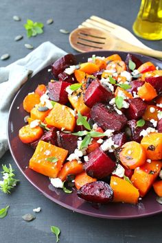 Low carb and easy to make, packed with nutrients, this Roast Beet Butternut Basil Goat Cheese Salad is a delicious side dish or light vegetarian meal. Beet Recipes, Veggie Recipes, Vegetarian Recipes, Cooking Recipes, Healthy Recipes, Vegan Meals, Easy Cooking, Smoothie Recipes, Squash Salad