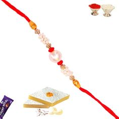 Picture of Stone Rings and Pearl Beads Handmade Rakhi