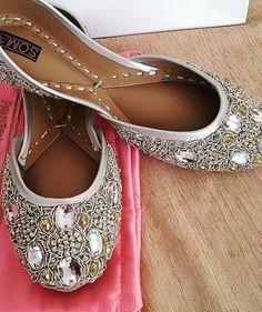 b596d081cb5 Silver beach wedding flats for bride jeweled beaded handmade shoes khussa  jutti
