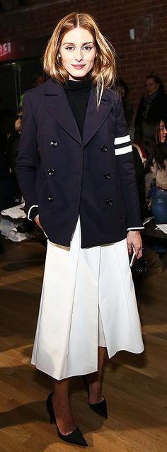Olivia Palermo | White Chic Culottes W/Blue & White Striped Jacket