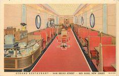 Strand Restaurant ~RED BANK NJ~ Great Old Linen Advertising Postcard, 1938 Diner