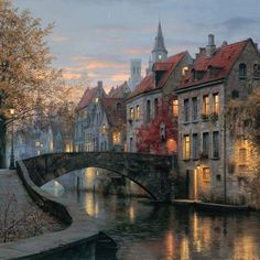 Location: Brugge Belgium =========================================================================================================== photo by Places To Travel, Places To Visit, Pictures To Paint, Art Pictures, Abstract Canvas, Beautiful Paintings, Picture Wall, Beautiful Places, Scenery