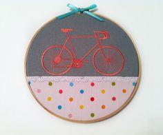 Sold. Girls Bike Biking embroidery hoop art pink. $9.75, via Etsy.