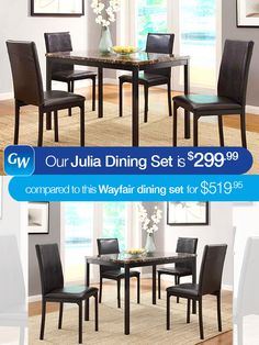 Sometimes our busy lives prevent us from shopping for the best deal.  That's why at Gardner-White we decided to do the shopping for you.  If you're looking for a 5-piece dining set but don't want to 'break the bank', our Julia Dining Set is right for you. With a scale appropriate for any number of smaller dining spaces, the Julia Collection will provide the look and style you want in your home.  Our Julia Dining Set save you over $220 compared to this nearly identical dining set from…