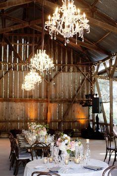 chandeliers + Barn= beautiful venue