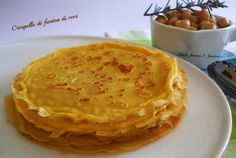 Crepes con farina di ceci. Ricetta senza glutine Frittata, Omelette, Veggie Recipes, Gluten Free Recipes, Healthy Recipes, Healthy Food, Pancake Muffins, Pancakes, Sweet Corner