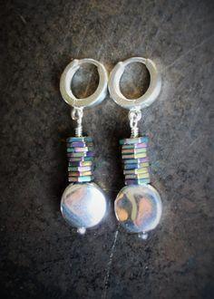 Sterling Silver Jewelry-Silver Hoop Earrings-Beaded Jewelry-Circles Jewelry-Hematite Earrings-Geometric Jewelry-Hexagon And Circle Earrings by 23littlewishes on Etsy