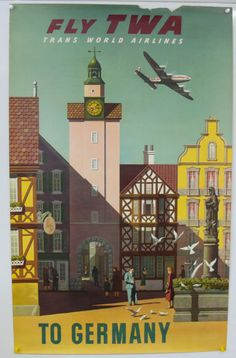 Fly TWA to Germany, vintage travel poster, 1960