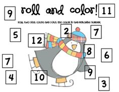 Roll two dice and color or cover the appropriate sum. This one includes four game mats with a winter theme.