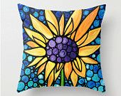 Throw Pillow Cover Sunflower Art Design For Yellow Flower Floral Botanical Mosaic Decor Decorating Made Easy Living Room Bedroom Bedding