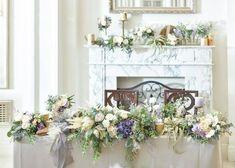 大人ナチュラルな高砂コーディネートカタログ Wedding Table, Tablescapes, Banquet, Flower Arrangements, Floral Wreath, Wreaths, Purple, Flowers, Handmade