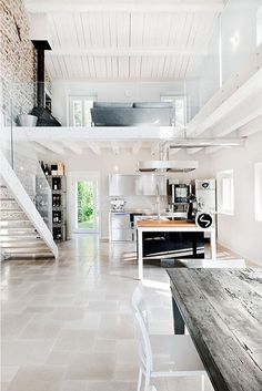 12 Loft Mezzanines: We weren't able to locate the designer behind this immaculately renovated Italian villa, but we're ready to move in. The clean lines of the stainless kitchen appliances and cabinetry offset the rustic whitewashed stone wall and farm table to perfection.