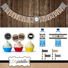 Return with Honor Missionary Banner Cupcake Topper Water Bottle Label Set by LDSPrintable on Etsy