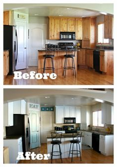 Before and After Photos of Kitchen with Painted Cabinets and Tile and Glass Backsplash installed...so much brighter!