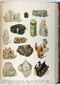 """Chromolithograph plate of minerals, from """"Atlas Mineralu, by Bernard, Alexander… Art And Illustration, Illustration Cristal, Antique Illustration, Creative Illustration, Minerals And Gemstones, Rocks And Minerals, Hangover, Crystal Drawing, Nature Drawing"""
