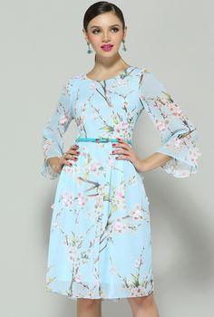 Blue Long Sleeve Floral Applique Dress