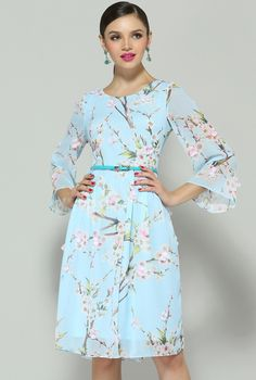 "I bought this ""Blue Long Sleeve Floral Applique Dress"" for the Baptism. It's from England! I love it because it has Sakura (cherry blossoms) on it! Sky blue is the perfect color for Spring & classy too! :)"