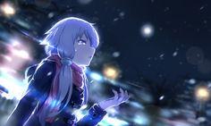 long_hair night rerubixi scarf snow twintails vocaloid voiceroid yuzuki_yukari