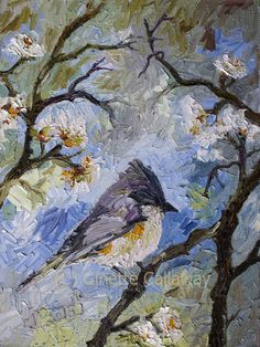 Tiny Bird in Spring Blossom Tree Nature Impressionist Original Oil Painting on Linen