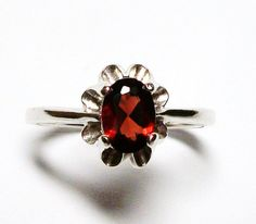 Garnet ring solitaire ring red birthstone ring s by Michaelangelas, $39.50