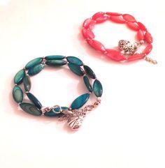 Beach bracelet Green shell bracelet Orange by MayaMayaCollection