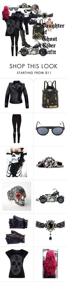 """Daughter of Ghost Rider/Johnny Blaze outfit"" by firegirlx48 ❤ liked on Polyvore featuring Moschino, Cameo Rose, RetroSuperFuture, Alexander McQueen, Les Cinq, Static Nails, outfit, nicholascage, GhostRider and johnnyblaze"