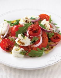 Tomato, Red Onion, and Mozzarella Salad. TGI Fridays was onto something after all...