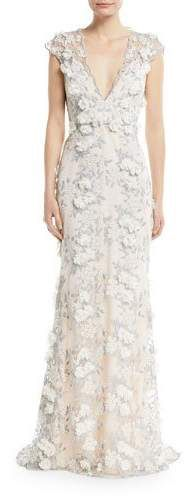 Badgley Mischka Collection Floral 3D Lace V-Neck Gown