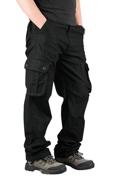 Men's Extra Large Multi Pockets Outdoor Cargo Pants Casual Loose Cotton Trousers - NewChic