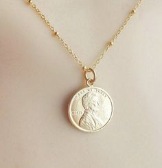 Hey, I found this really awesome Etsy listing at https://www.etsy.com/listing/209706328/gold-lucky-penny-necklace-gold-plated