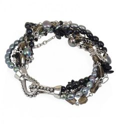 """Sterling Silver 4-7.5MM Black and Jet Freshwater Cultured Pearl with Mixed Gemstone Twist 8.25"""" Bracelet"""