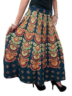 Long Skirts- Women's Cotton Printed Forest Green Maxi Skirt, Gift Mogul Interior http://www.amazon.com/dp/B00RV6P4Q6/ref=cm_sw_r_pi_dp_zd8Qub1B8RF24