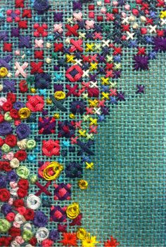 Rice Stitch, Loose French Knots, Cross Stitch and Rhodes Stitches on Liberated Canvas
