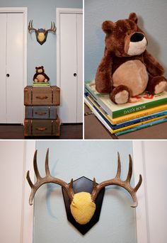 Eclectic Travel Themed Nursery... Ev likes the antlers of course :) ridiculous