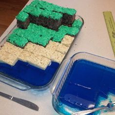 Minecraft cake. I know some people who will be getting this for their next birthday...